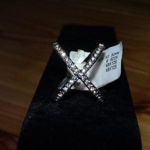 Silver Criss Cross Size 8 Rhinestone Ring